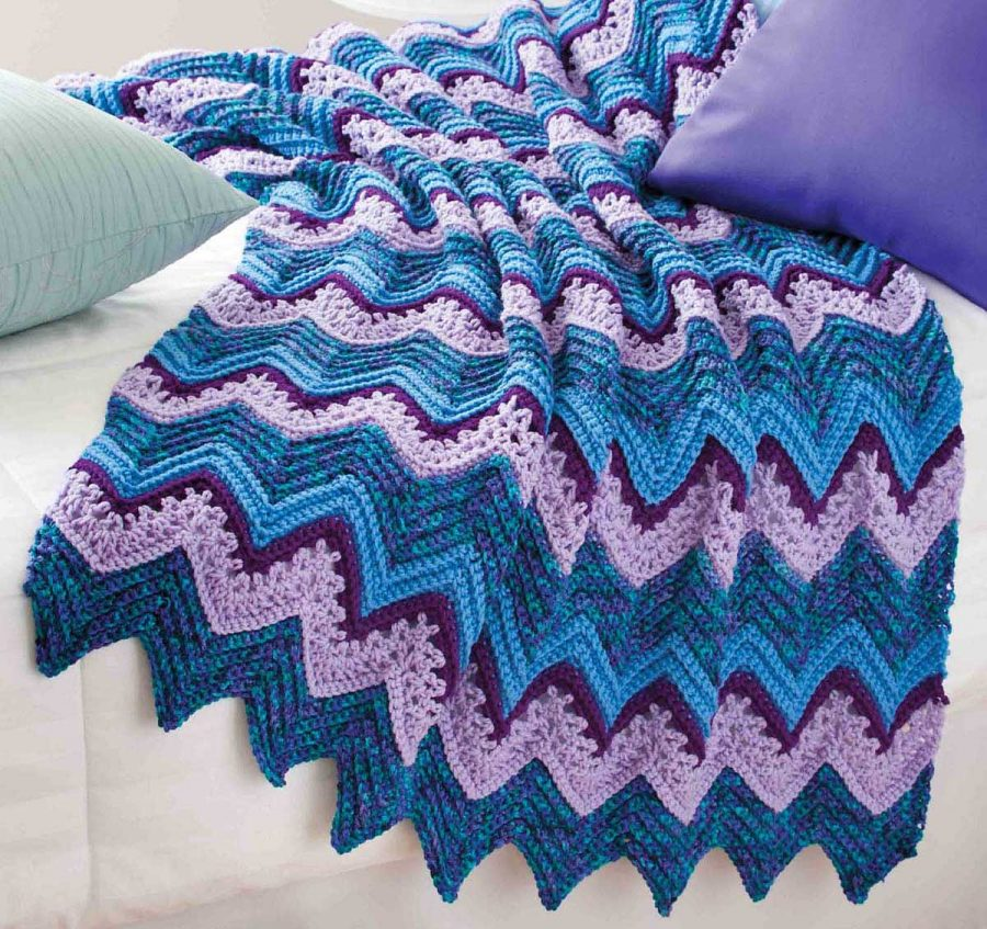 Big Book of Crochet Afghans: 26 Afghans for Year-Round Stitching - Rippling Waves - fn ripple pattern with varigated yarn and a variety of ripple stitches.