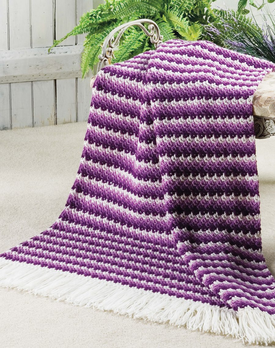 Big Book of Crochet Afghans: 26 Afghans for Year-Round Stitching - Shaded Stripes Reversible Throw - Ombre-effect in this fall and winter blanket pattern