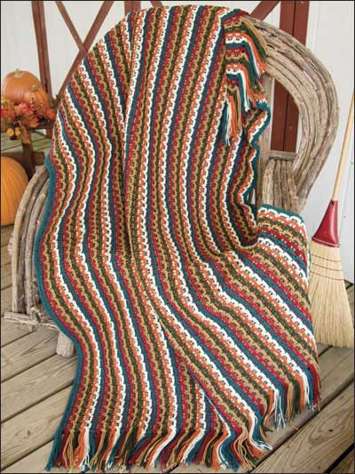 Big Book of Crochet Afghans: 26 Afghans for Year-Round Stitching - Textured Stripe Harvest Throw - fall crochet blanket pattern