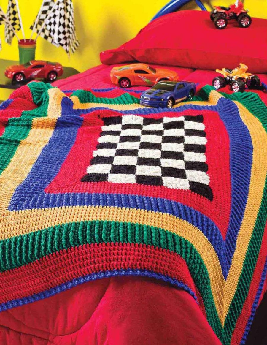 Big Book of Crochet Afghans: 26 Afghans for Year-Round- Victory Junction Gang Racing Afghan - cute blanket and playmat for your child's bedroom