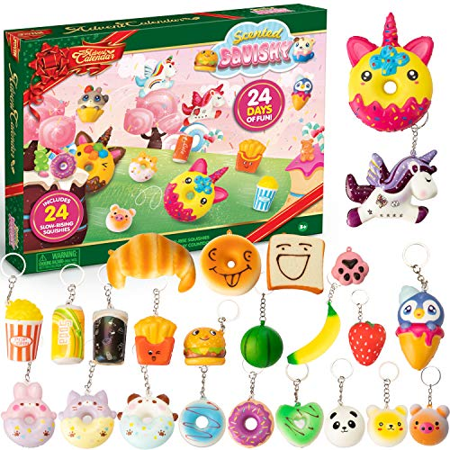 Countdown Advent Calendar with 24 Scented Slow-Rising Squishies Keychains