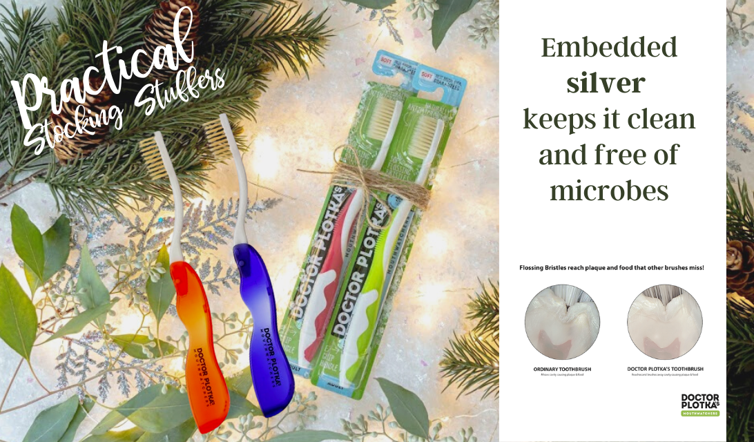 Doctor Plotka™'s Travel Toothbrush - a great practical stocking stuffer - embedded with silver to kill viruses and bacteria