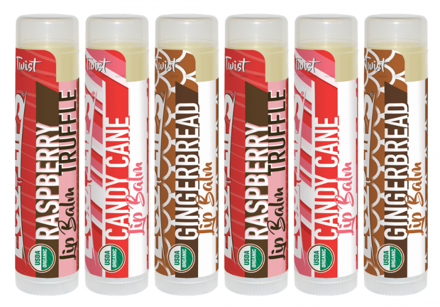 Eco Lips 2020 Holiday Lip Balm - Candy Cane, Raspberry Truffle and Gingerbread