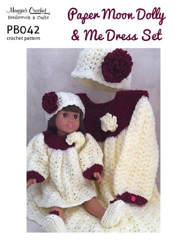 Crochet Pattern Paper Moon Vintage Style Dress and Hat Dolly & Me Set PB042-R aff