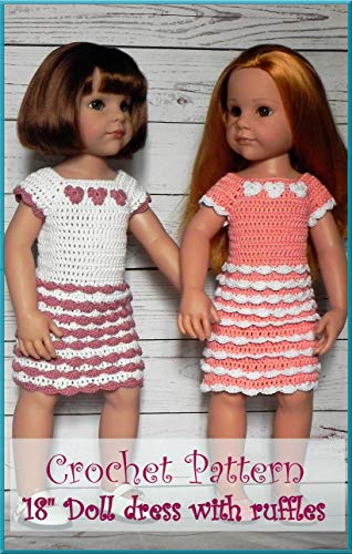 Crochet pattern: Doll dress with ruffles for 18'' dolls  aff