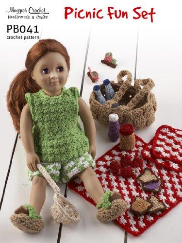 Crochet Pattern Picnic Set for 18-in dolls  - outfit basket, blanket & more!  PB041-R