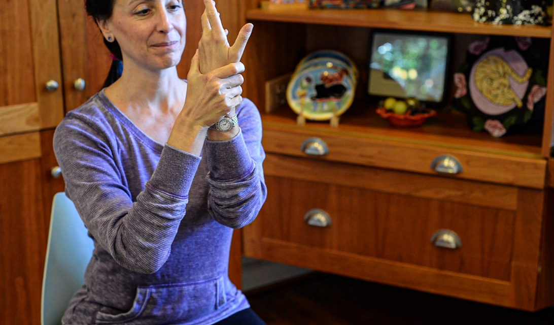 Yoga Moves MS Adaptive -Wrist Release - Photo Credit Elayne Gross - Exercise for Multiple Sclerosis
