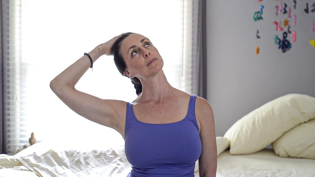 Yoga Moves MS Adaptive - Scalene Stretch - Photo Credit Elayne Gross - Exercise for Multiple Sclerosis